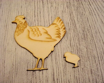 Hen and her chick 1218 embellishment wooden creations