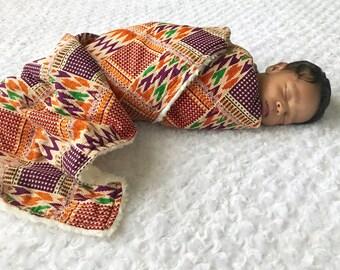 African print baby blanket; kente cloth blanket