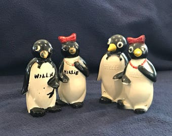 Two Sets of Vintage Millie/Willie Penguin Salt and Pepper Shakers