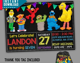 Sesame street invitation etsy sesame street invitation sesame street birthday sesame editable pdf template instant download pronofoot35fo Images