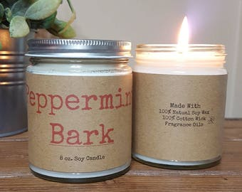 Peppermint Bark, Soy Candle, Winter Candle, Holiday Candle, Gifts for Her, Scented Soy Candles