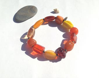 """Sun"" glass beaded elastic bracelet"