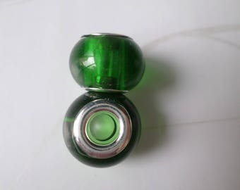 European metal green glass beads 2 x 15 mm silver