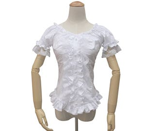 Victorian Vintage Lolita White Cotton Lace Blouse Top Women Gothic Short Sleeve Reenactment Halloween Costume