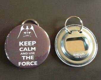 "Door keys/bottle opener ""keep calm And use the force"""