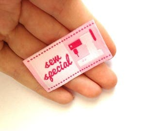 """fabric 1 label pink sew on clothing for kids school hand made decorative text """"special sem"""" 4, 5 x 2, 5cm"""