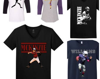 Custom Photo Sports Fan Shirt, Softball Shirt, Baseball Shirt, Karate Shirt, Football Shirt, Photo Shirt, Basketball Shirt, Sports Mom, Tank