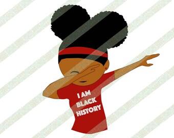 I Am Black History Month Kids SVG PNG Black Girl Dabbing, Afro Puffs, Natural Hair Digital Download