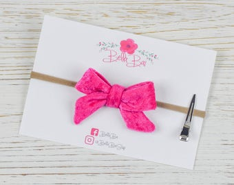 Baby Bow, Baby Headband, Hot Pink Velvet Bow, Breakaway Bow