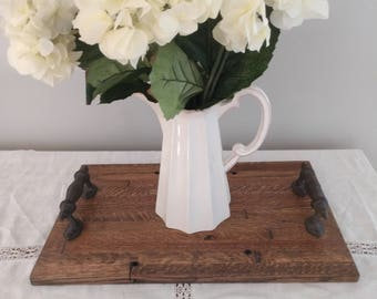 Reclaimed Barn Wood Serving Tray, Wood Tray With Metal Handles, Rustic Serving Tray, Ottoman Tray, Breakfast Tray