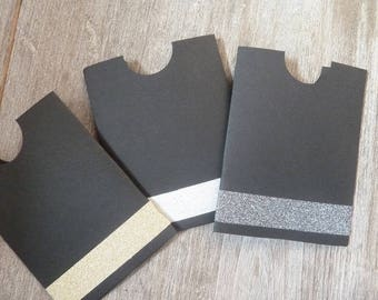 3 black card holder and festive glitter Ribbon