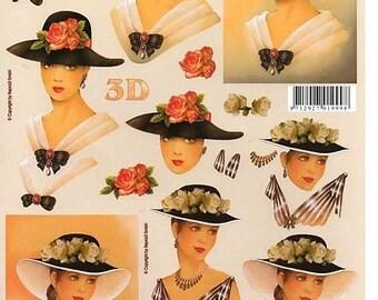 1 x sheet 3D girls hats (674)