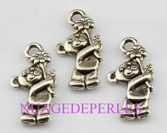 3 pendant charms Tibetan silver Teddy bear bear