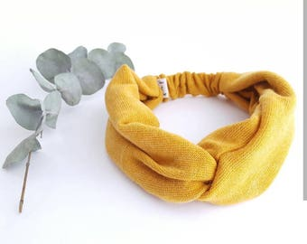 Headband woman mustard knit headband