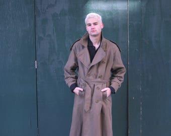 Olive Burberry Trench Coat   Vintage Full Length Coat   Burberry   Mens Size L   80s Rain Coat   Belted Overcoat  