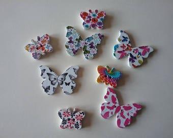 8 buttons butterflies multicolor No. 56