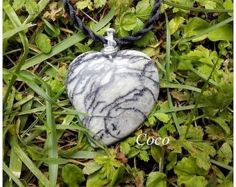 Pendant Zebra Jasper stone heart