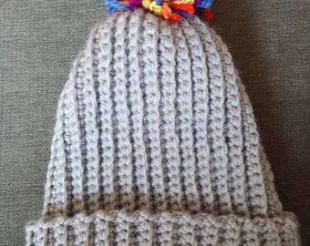 Adult rainbow pom pom hat
