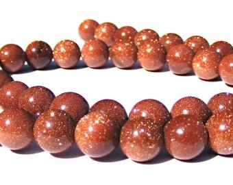 8 pierre du soleil de 8 mm perles pierres marron claire pailleté.
