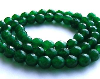 8 émeraudes à facette de 6 mm perles pierres verte.