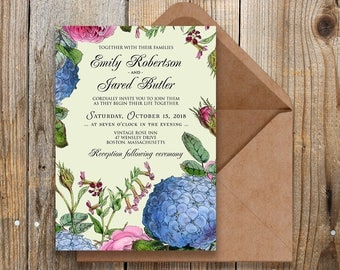 Flowers Wedding Invitation Outdoor Wedding Printable Invite Rustic Wedding Hydrangea and Roses Invitation Template Green Floral Invitation