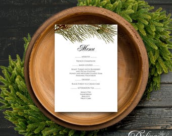 Winter Forest Party Menu Printable Christmas Dinner Menu Holiday Winter Wedding Bridal Shower Party Menu Rustic Pine Tree Menu Template PDF