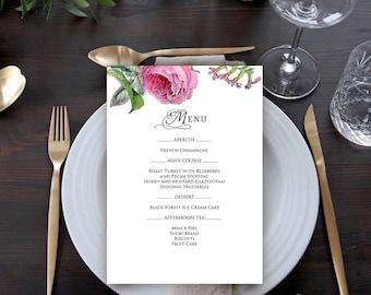 Roses Menu Printable Menu Cards Template Garden Party Menu Spring Flowers Outdoor Party Rustic Floral Dinner Menu for Wedding, Bridal Shower