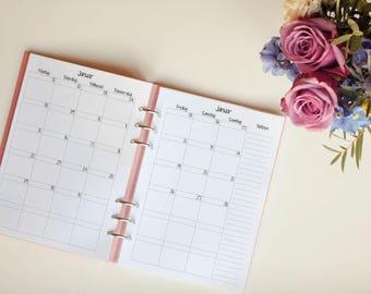 "Monthly Overview ""Sugar Snow"" A5 Filofax calendar Deposit"