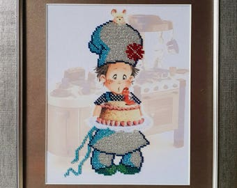 """Picture beaded """" The Little Cook"""", Framed picture, Canvas, Idea"""