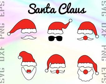 Santa SVG File - Santa Cricut SVG - Santa Dxf -  Santa Cutting File - Santa Vectror Svg - Santa Eps - Santa Hat Svg - Santa Png Silhouette