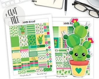 Cactus Succulents Planner Stickers, Monthly Planning Stickers, Monthly Weekly Planner Printable Stickers, Erin Condren, ECLP, Cute, Kawaii,