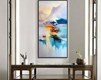 Chinese Rainbow Ink Painting On Canvas, Vintage Art, Chinese Decor,  Colorful Wall Art