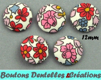 Buttons covered with Liberty - Emilia's Flowers B - 12 mm
