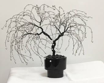 Wire Bonsai with pearl like beads.