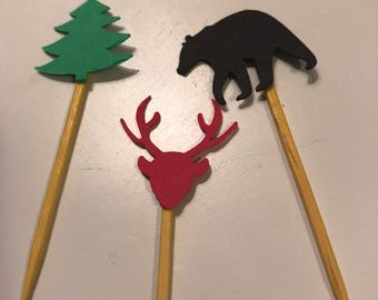 Lumberjack theme cupcake toppers or food picks- black bear, red deer and green forest tree birthday party theme- baby shower them and more