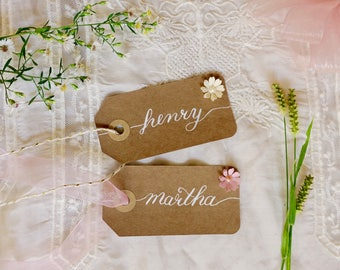 Rustic name tags - wedding - placecards - place cards - name cards modern calligraphy kraft paper - favor tags  gift tags DesignedbyDorothea