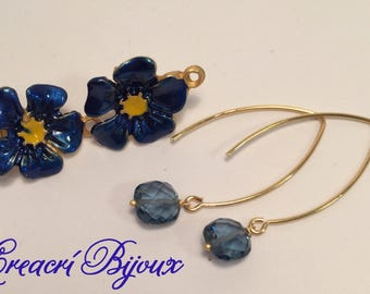 Earrings in silver 925 and blue quartz