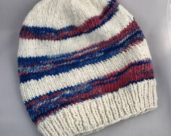 Cream and  blue/pink stripe wool slouch hat