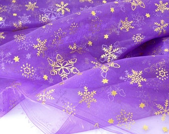Gold printed organza snowflake fabric background purple x 1.45 meter