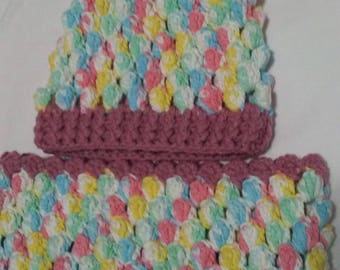 crochet cowl and hat  set  for girl