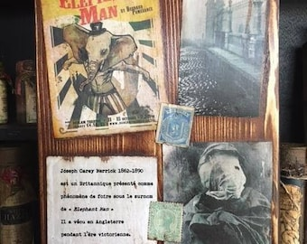 Steampunk - Cabinet of curiosities collage Elephant Man.