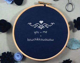 you + me = bowchikkawowow Cross Stitch