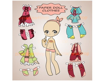 paper doll clothes digital paper doll cut out doll dress up doll