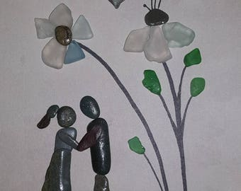 English Art, Framed Pebble and Sea Glass Picture - Couple under Blue Sea Glass Flowers