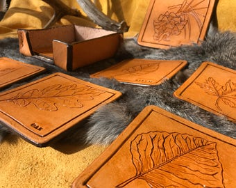 Original Artwork Leather Coasters Leaf Collection
