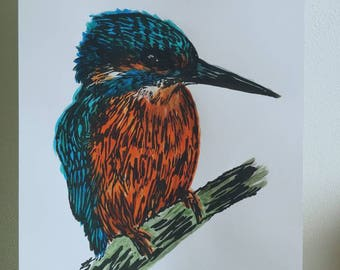 A4 size Kingfisher lino print - limited edition of 5