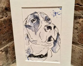 Hugo. Watercolour dog, dog art, NOT print, signed and mounted