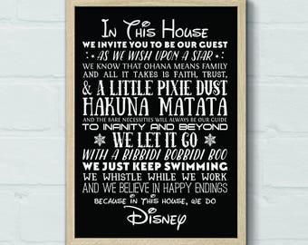 DIGITAL 16x20 Disney House Rules Printable, Disney Print, Disney Quote, Disney Printable, Disney Art, Home Decor