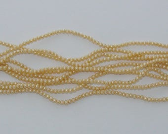 50 beads yellow clear glass Pearl 3 mm