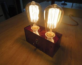 "Recycled pallet wood ""Edison Double Bulb"" lamp"